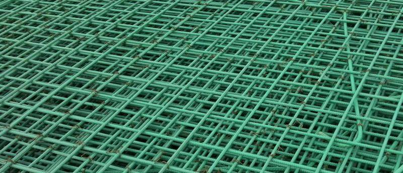 mesh formed of green epoxy coated rebars