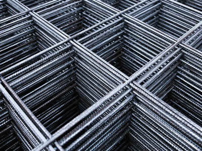 Square galvanized reinforcing rib mesh with ribbed surface.