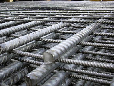 Galvanized reinforcing welded wire mesh with ribbed rods.